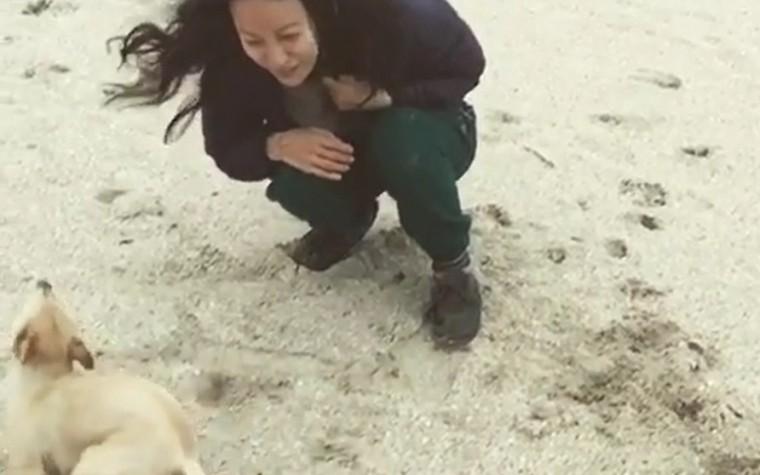 (영상) 이효리, 강아지와 함께 해변에서…감동선사