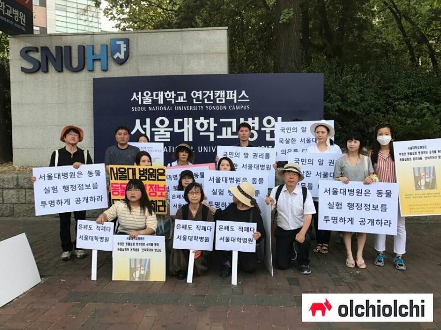사진=지난 5월 28일 생명체학대방지포럼 등 동물단체들이 서울대병원 앞에서 동물실험 행정정보를 공개하라는 기자회견을 열었다.